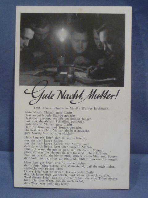 Original WWII German Song Postcard, Good Night Mother!