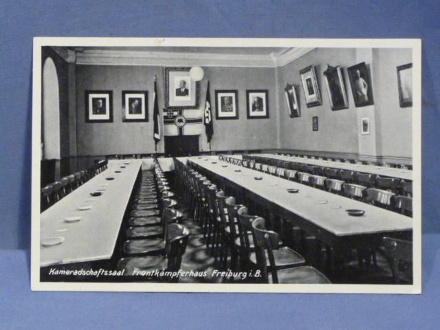 Original Nazi Era German Postcard, Fellowship Hall Veterans Home Freiburg