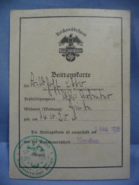 Original 1936 German Reichsnährstand Membership Dues Card