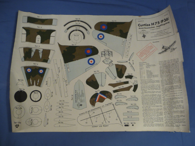 Original Nazi Era German NSFK Paper Airplane Model, US P36 Fighter!!!