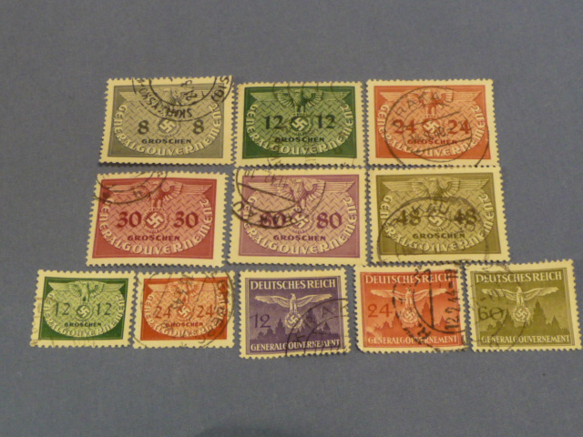 Original WWII German Set of Circulated Postage Stamps