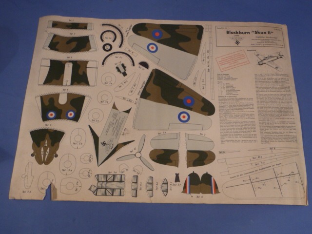 Original Nazi Era German NSFK Paper Airplane Model, British Skua II!!!