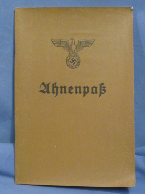 Original WWII German Ahnenpa� (Family Tree) Book, UNUSED