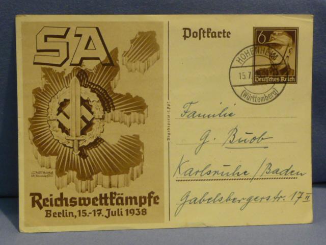 Original WWII German SA Sports Badge Commemorative Postcard