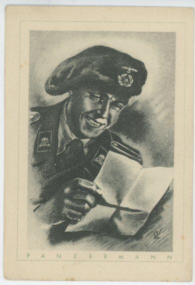 Original WWII German Postcard, Panzer Soldaten