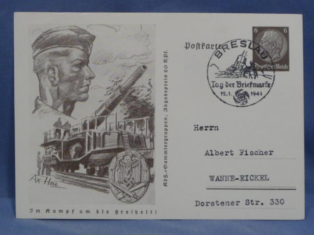 Original WWII German Postcard, ASSAULT BADGE