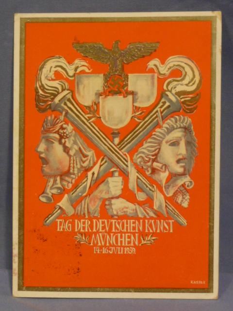 Original WWII German Postcard, Day of the German Art