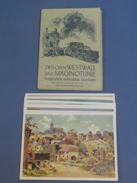 Original WWII German Postcard Set, Between Westwall and Maginot Line