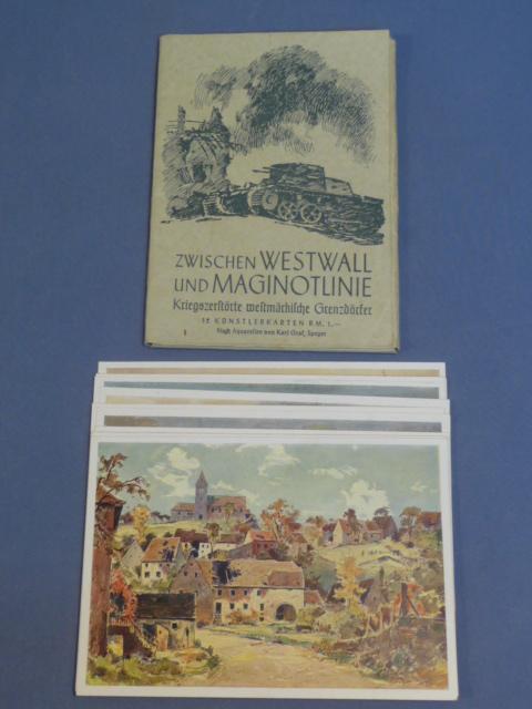 Original WWII German Postcard Set, Between Westwall and Maginot Line