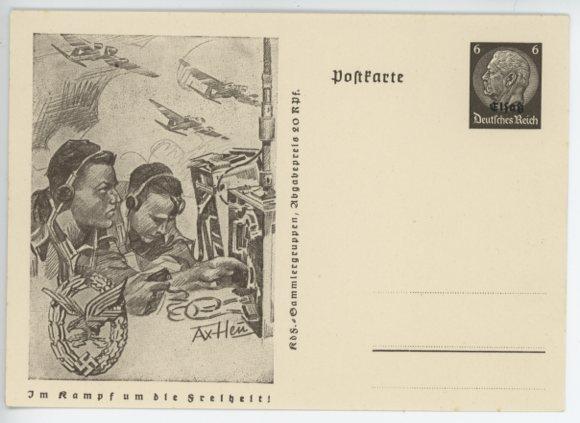 Original WWII German Postcard, LW Wireless Operator�s Badge