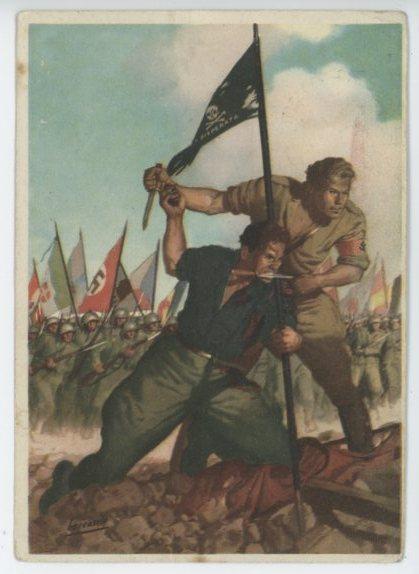 Original WWII Italian Propaganda Postcard, P.N.F.