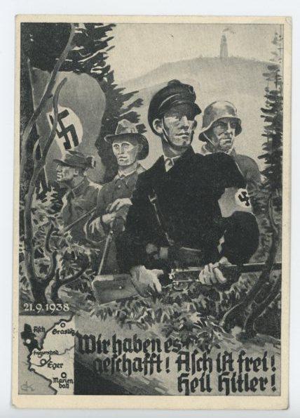 Original 1938 German Commemorative Postcard, We did it! Asch Is Free!