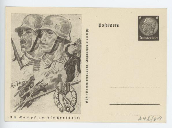 Original WWII German Postcard, INFANTRY ASSAULT BADGE