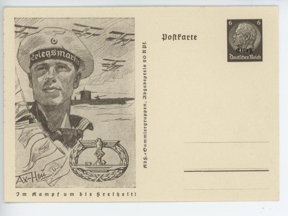 Original WWII German Postcard, U-BOAT WAR BADGE