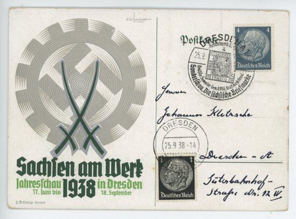 Original 1938 German Commemorative Postcard, SAXONY AT WORK