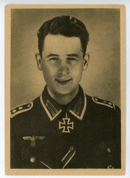 Original WWII German Personality Postcard, Knights Cross Winner Oberfeldwebel Reinhardt