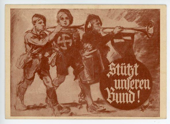 Original Nazi Era German Postcard, Support Our Newsletters
