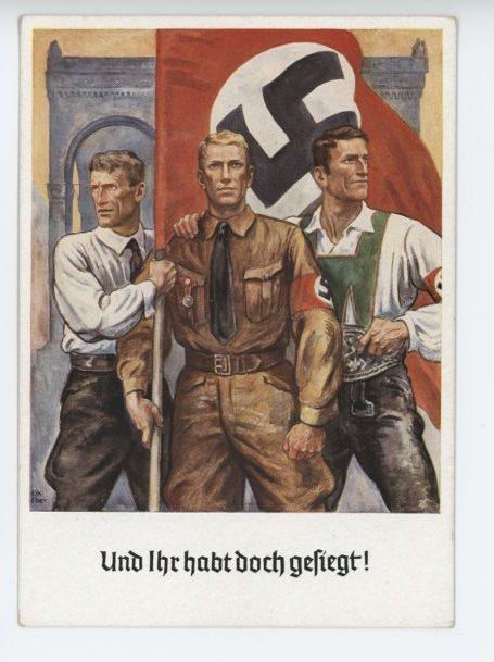 Original 1938 German Postcard, And You Have Won Anyway!!!