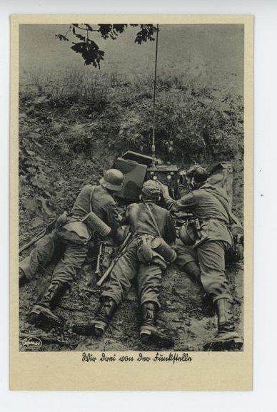 Original Nazi Era German Military Themed Postcard, SIGNALS!