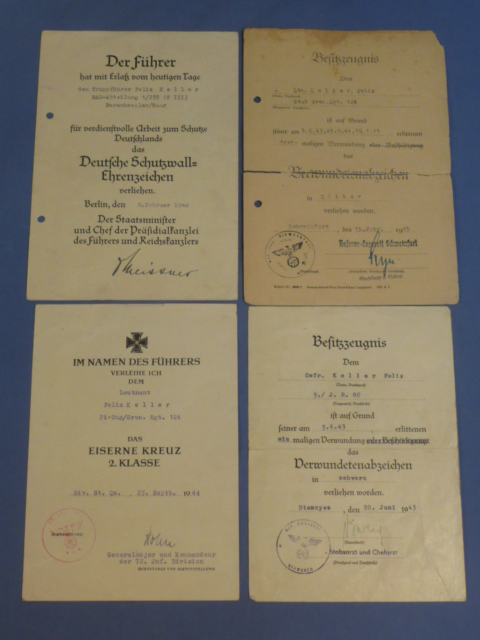 Original WWII German Soldier's Set of FOUR Award Documents