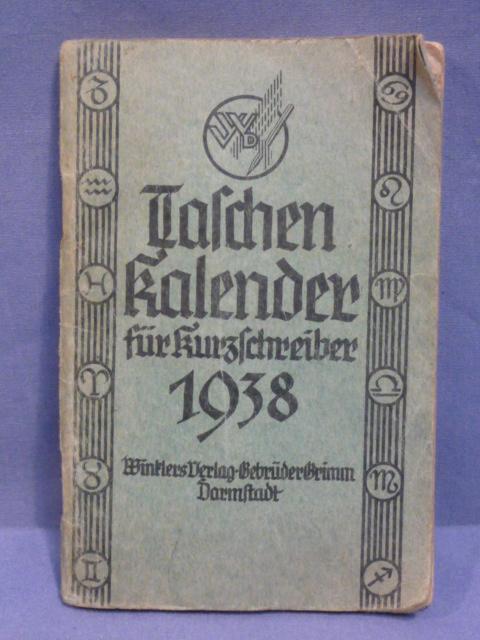 Original 1938 German Pocket Calendar Book for Shorthand Writer