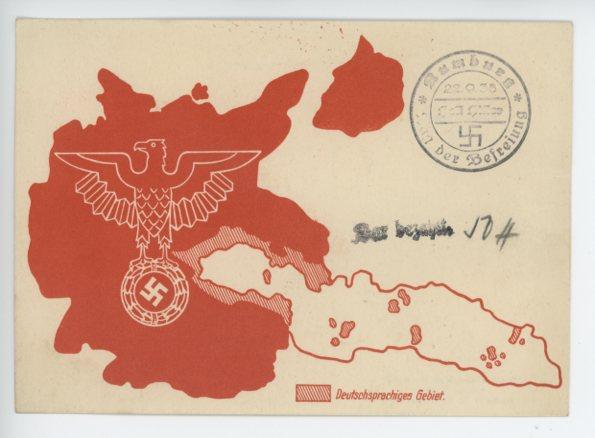 Original Nazi Era German Postcard, German Speaking Area