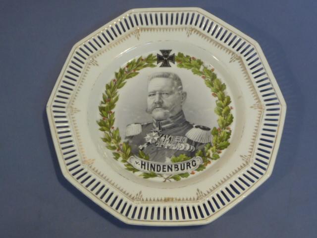 Original WWI German von Hindenburg Decorative Plate