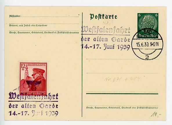 Original 1939 German Commemorative Postcard, WESTFALENFAHRT