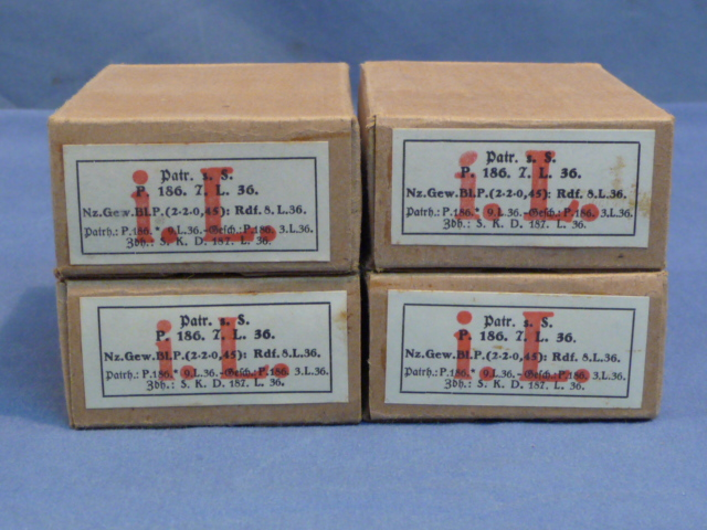 "Original WWII German Cardboard 8mm ""In Stripper Clips"" Ammunition Boxes, Set of 4"