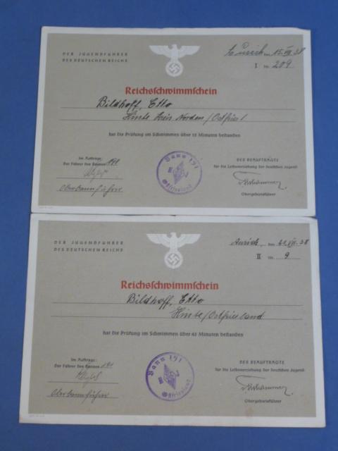 Original 1938 German HJ Reichs Swimming Certificates, Set of 2