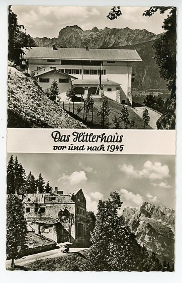 Original Post-WWII German Postcard, Hitler's House Before and After 1945