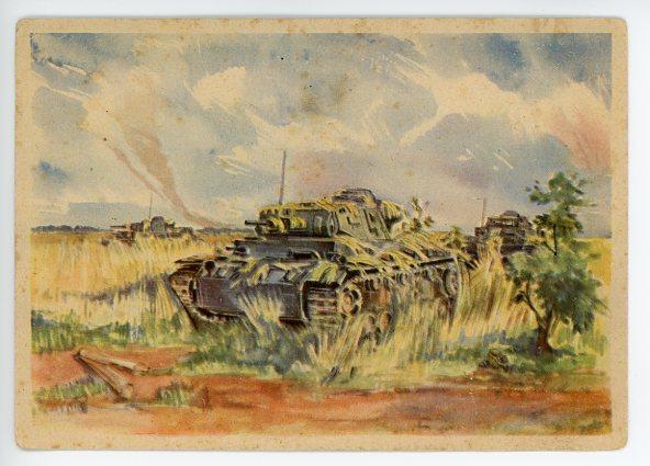 Original WWII German Postcard, CAMOUFLAGED PANZER