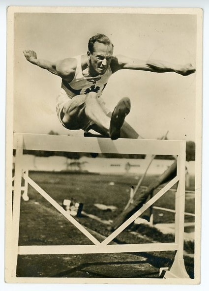 Original Nazi Era German Sports and Physical Culture Postcard, ON THE HURDLE