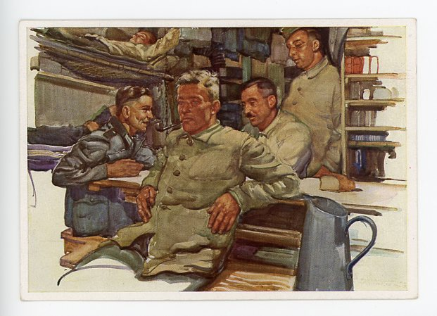 Original WWII German Postcard, Old and Youth Comrades