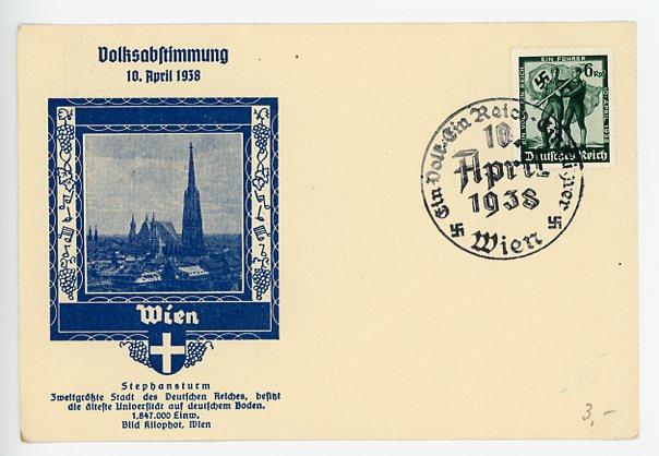 Original 1938 German Post Office Commemorative Postcard