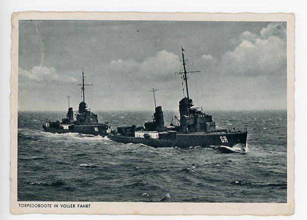 Original WWII German Postcard, TORPEDO BOATS