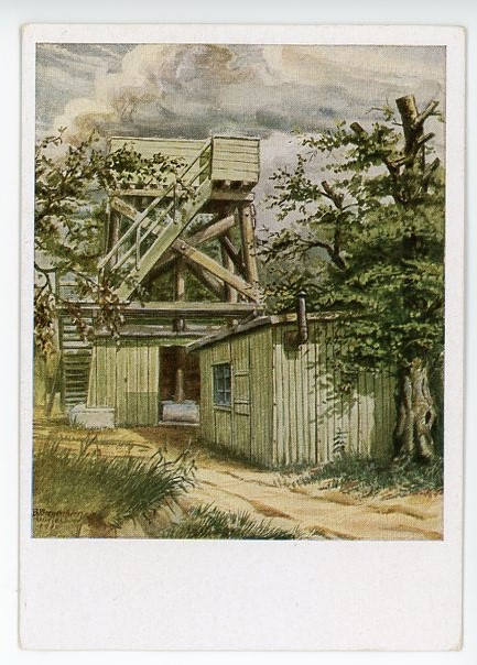 Original WWII German Art Postcard, Position in the Summer