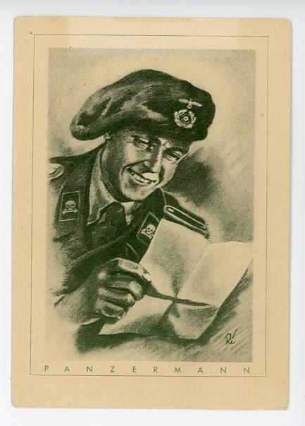 Original WWII German Postcard, PANZERMANN