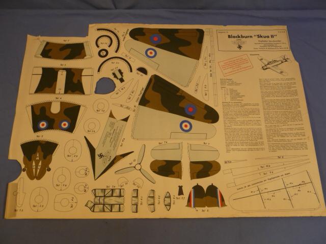 Original Nazi Era German NSFK Paper Airplane Model, British Skua II!!!