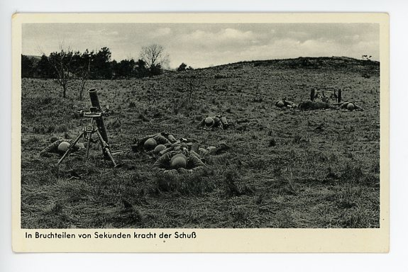 Original WWII German Military Themed Postcard, Mortar Crew 8