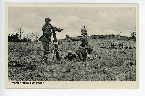 Original WWII German Military Themed Postcard, Mortar Crew 6
