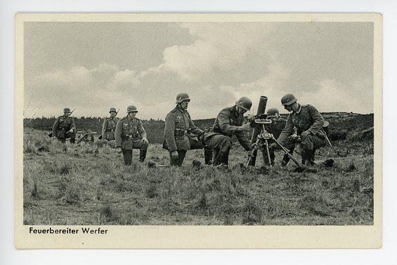 Original WWII German Military Themed Postcard, Mortar Crew 4