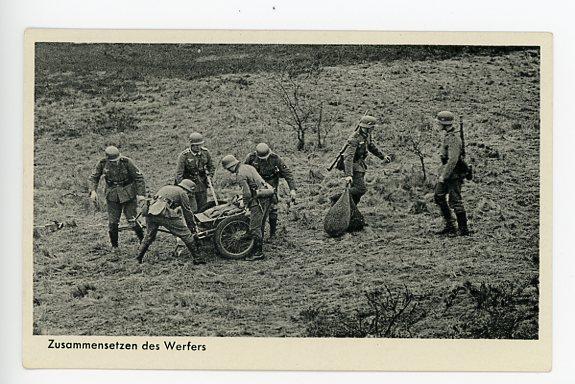 Original WWII German Military Themed Postcard, Mortar Crew 3