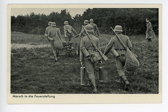 Original WWII German Military Themed Postcard, Mortar Crew 2