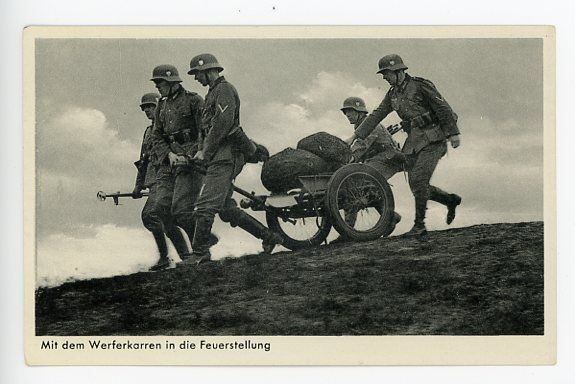 Original WWII German Military Themed Postcard, Mortar Crew 1