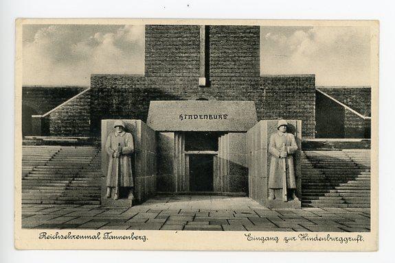 Original WWII German Postcard, Entrance to the Hindenburg Tomb