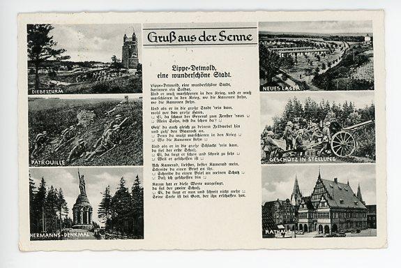 Original Nazi Era German Postcard, Greetings from the Senne