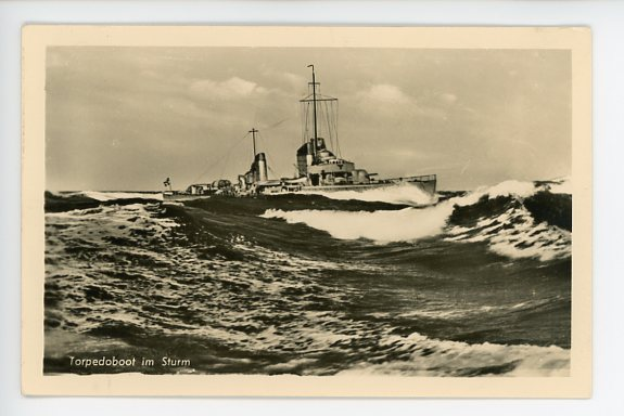 Original WWII German Military Themed Postcard, Torpedo Boat