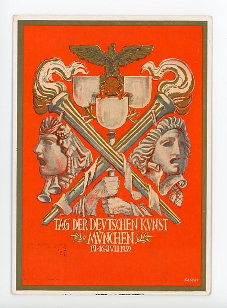 Original 1939 German Commemorative Postcard, Day of German Art