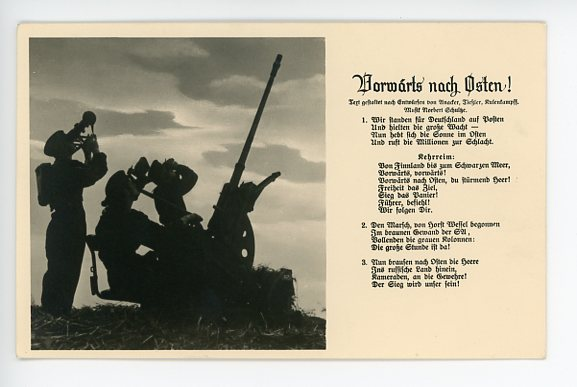 Original WWII German Song Postcard, Vorw�rts nach Osten!
